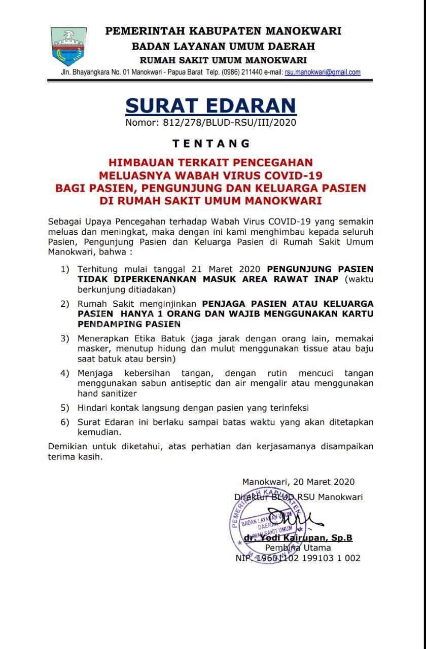 Cegah Penyebaran Corona Jam Besuk Pasien di RSUD Manokwari Ditiadakan 2 IMG 20200321 WA0043