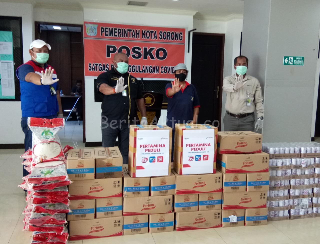 Pertamina RU VII Kasim Salurkan 2 Ton Beras Untuk Warga Kota Sorong 1 IMG 20200419 WA0012