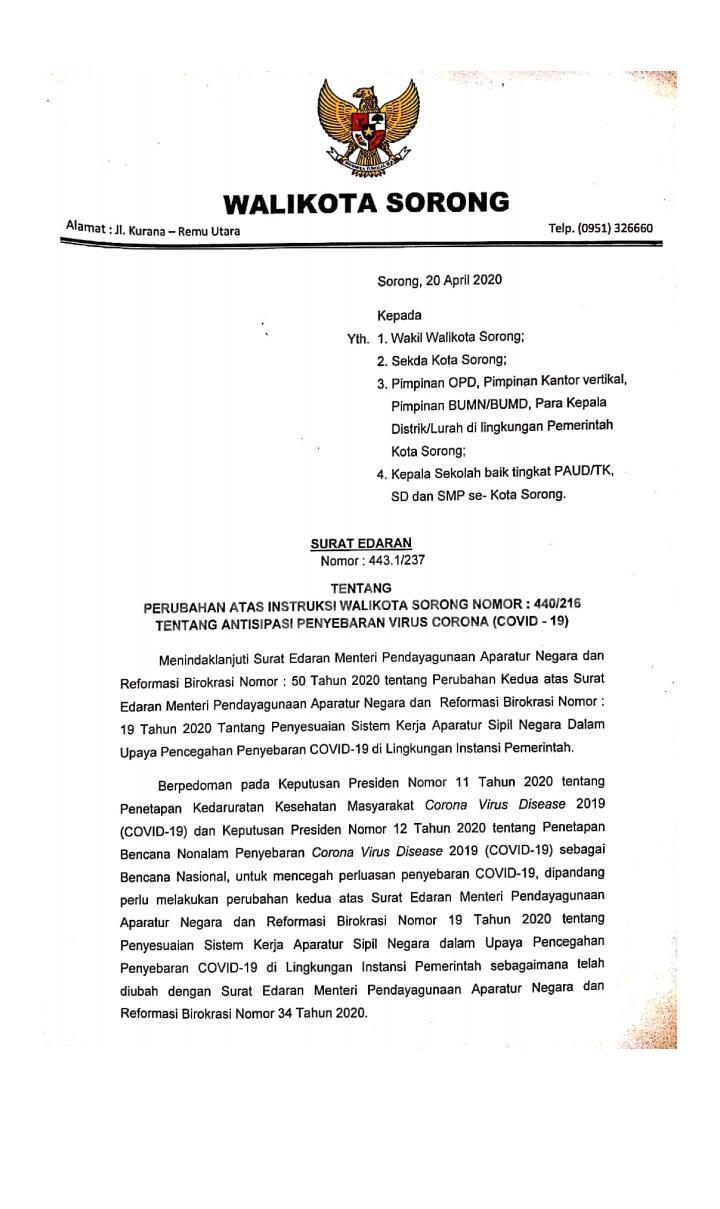 Pemkot Sorong Perpanjang ASN Kerja Dari Rumah Sampai 13 Mei 2020 2 IMG 20200421 WA0060