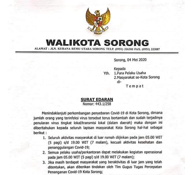 Pemkot Sorong Batasi Aktivitas Warga Sampai Jam 7 Malam 1 20200504 154147