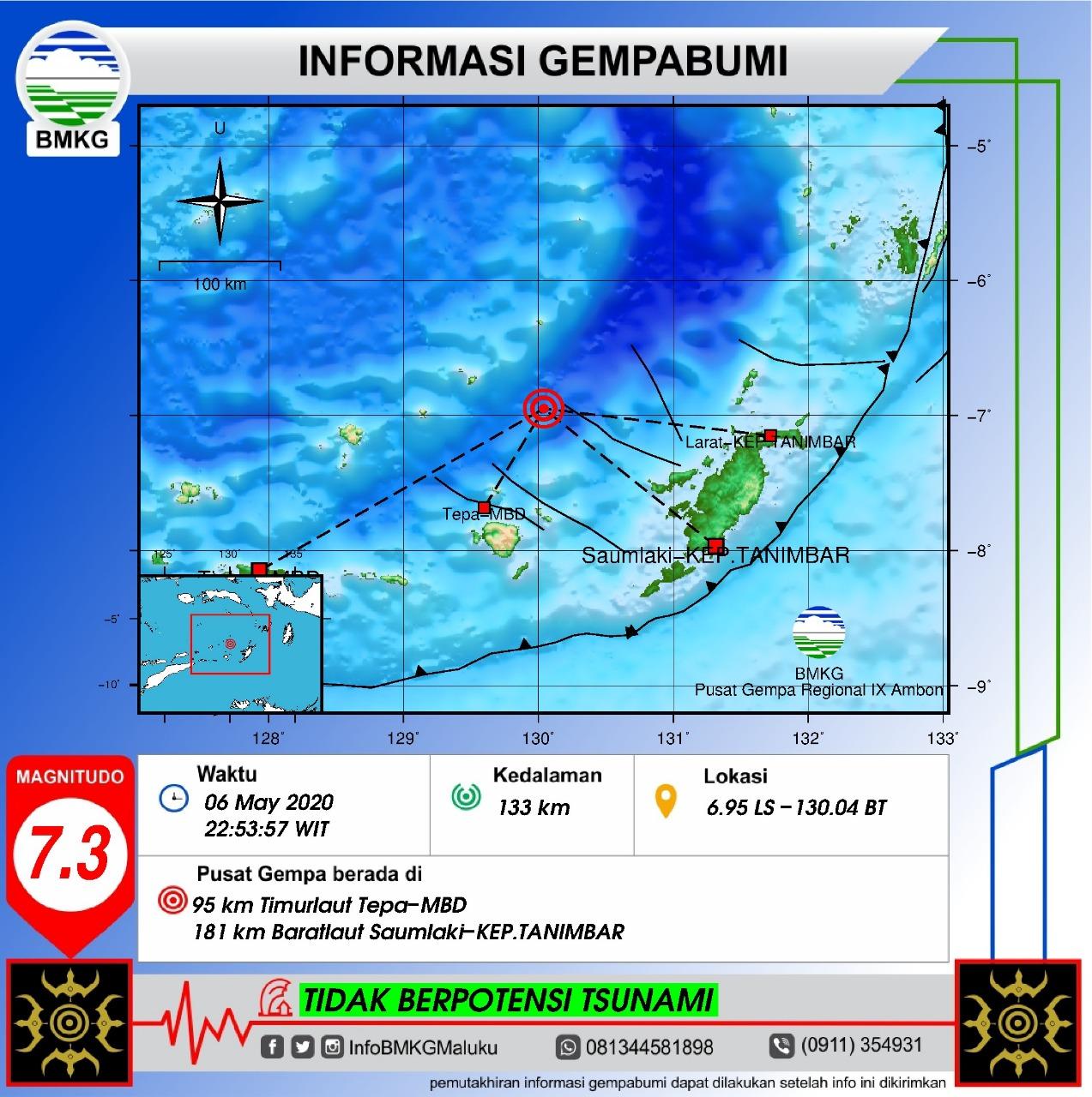 Gempa 7,3 Guncang Barat Laut Tanimbar, Getaran Dirasakan Kuat Sampai Sorong 1 IMG 20200506 WA0038