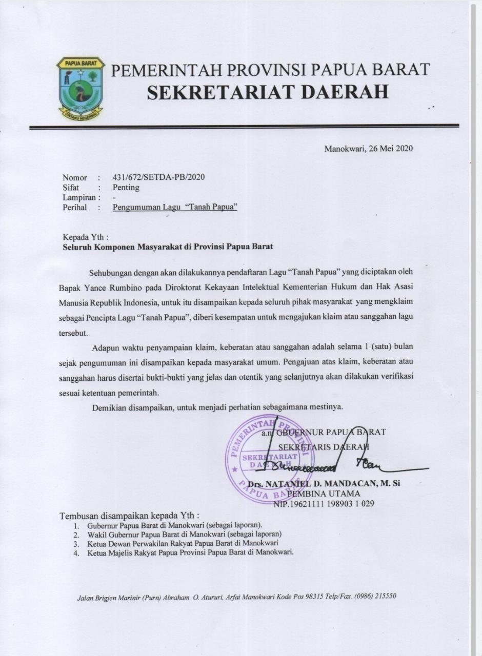 Pemprov PB Akan Daftarkan Lagu Tanah Papua Ciptaan Yance Rumbino ke Kemenkumham 1 IMG 20200526 WA0039