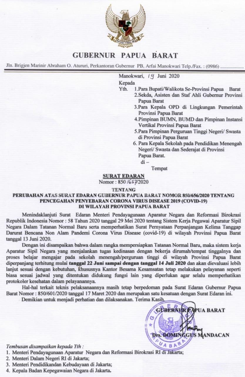 Kerja Dari Rumah Untuk ASN Dan Pendidikan di Papua Barat Diperpanjang Hingga 14 Juli 2020 4 IMG 20200622 WA0019 1