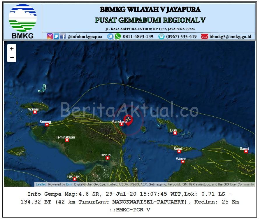 Manokwari Diguncang Gempa 4.6 Magnitudo, Tidak Berpotensi Tsunami Dan Gempa Susulan 1 IMG 20200729 WA0032