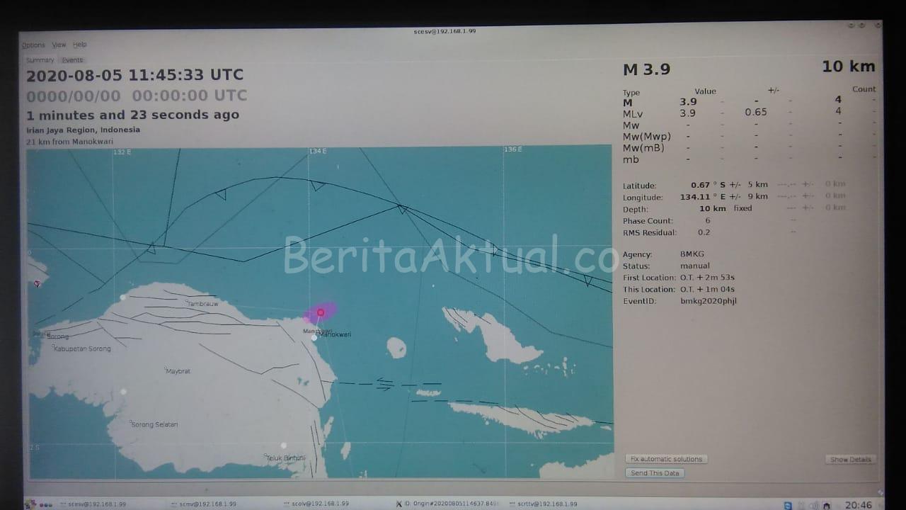 Gempa Magnitudo 3,9 Terjadi di Perairan Pelabuhan Manokwari 1 IMG 20200805 WA0053