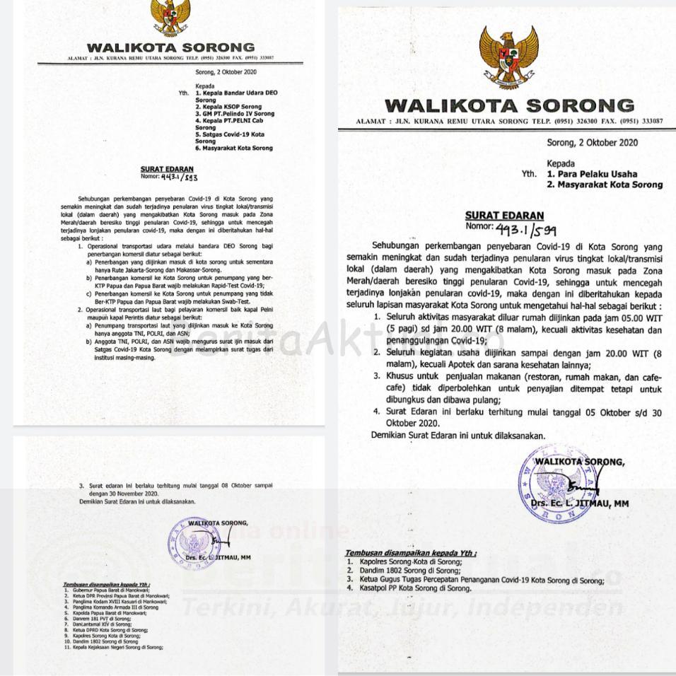 Aktivitas Warga, Pelaku Usaha Dan Perhubungan Dibatasi, Ini Surat Edaran Walikota Sorong 2 IMG 20201005 1