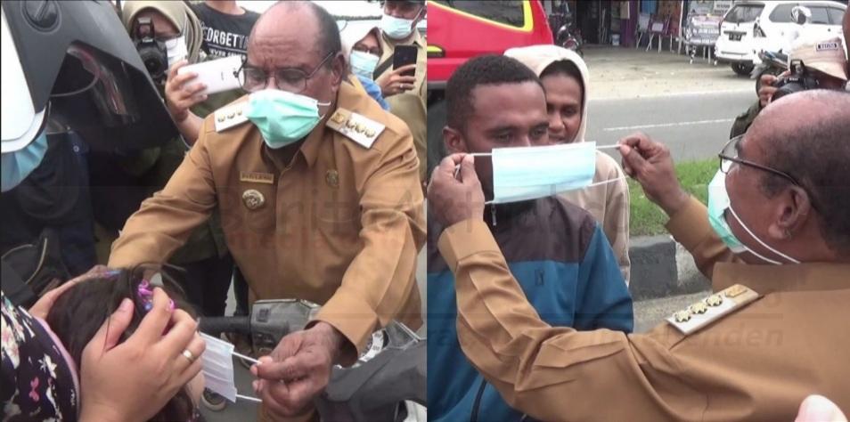 Rayakan HUT PWI ke 75, Wartawan Bersama Walikota Sorong Bagi Masker di Jalan 17 20210209 140543