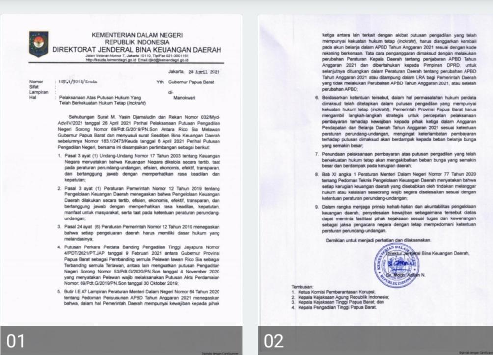 Kuasa Hukum Rico Sia Tegaskan Akta Perdamaian Tidak Bisa Dibatalkan, Pemprov PB Tetap Bayar 4 Screenshot 20210527 083559 CamScanner