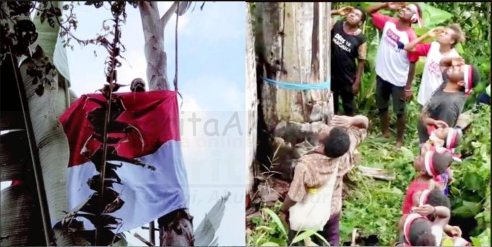 Warga Kampung Syou Warmare Kibarkan Bendera di Puncak Pohon Pisang Raksasa 1 Screenshot 20210817 162036 Photo Wonder