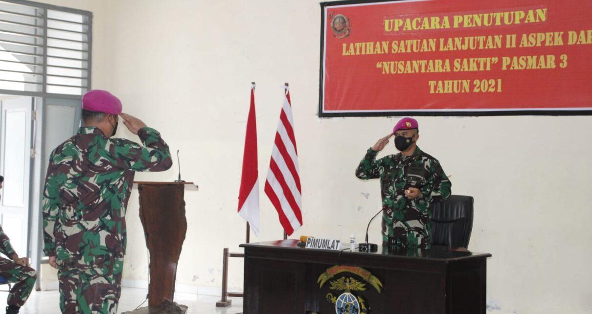 Danpasmar 3 Pimpin Upacara Penutupan Latihan Satuan Lanjutan II Aspek Darat Triwulan III Tahun 2021 1 IMG 20210920 WA0035
