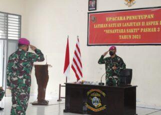 Danpasmar 3 Pimpin Upacara Penutupan Latihan Satuan Lanjutan II Aspek Darat Triwulan III Tahun 2021 15 IMG 20210920 WA0035