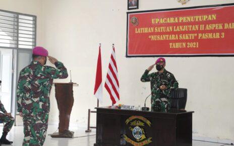 Danpasmar 3 Pimpin Upacara Penutupan Latihan Satuan Lanjutan II Aspek Darat Triwulan III Tahun 2021 2 IMG 20210920 WA0035
